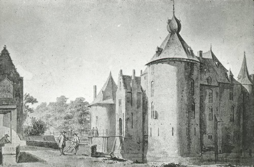 Kasteel Ammersoyen in Ammerzoden. Tekening Abraham de Haen